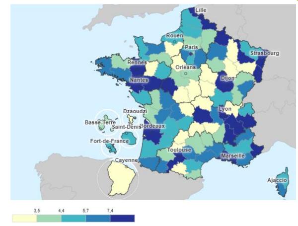 densité de médecins du travail par département